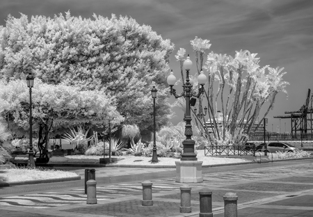 A unique look at the port area of Cadiz Spain as seen in Infrared