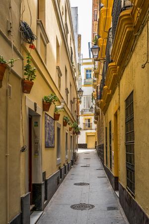 カディス、スペインで狭い通り 写真素材