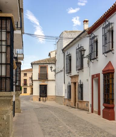 A quiet street in Ronda Spain. Stock Photo