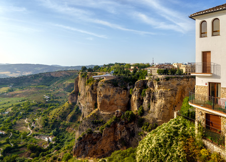 The El Tajo ravine on the north side of the New Bridge in Ronda Spain.