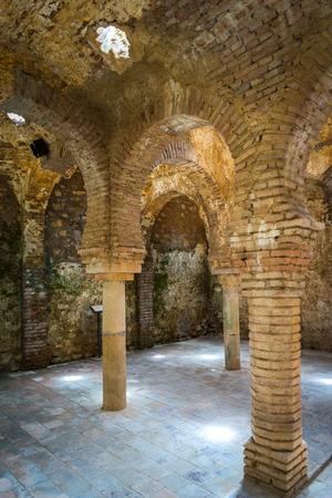 Inside the cool room of the Arab baths in Ronda Spain
