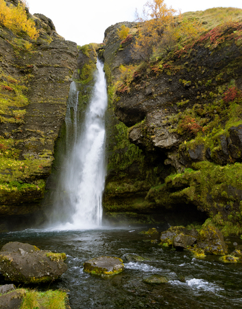 Gluggafoss waterfall in the southern part of Iceland. A cascading waterfall