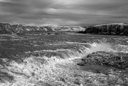 Urridafoss waterfall. Located outside the town of Selfoss in the South-west of Iceland. Shot at 720nm Infrared