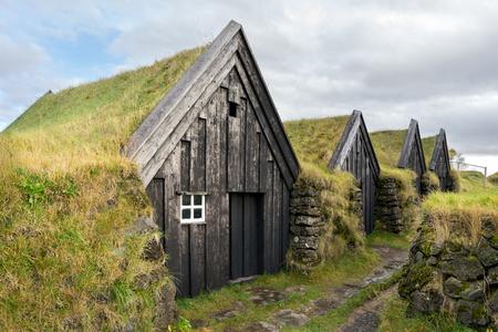 The historic Keldur Turf homes located in the southern region of Iceland