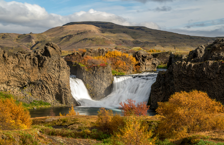 The Hjalparfoss Double Waterfall located in the South-West portion of Iceland