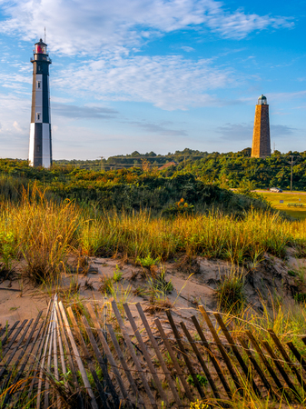 The new and the old Cape Henry Lighthouses. Located on Fort Story in Virginia Beach Virginia.