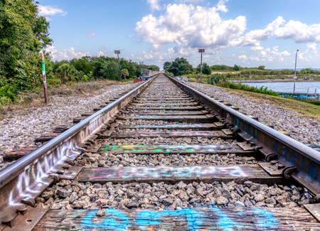 The tracks over Graffitti Bridge, Pensacola Florida Banco de Imagens