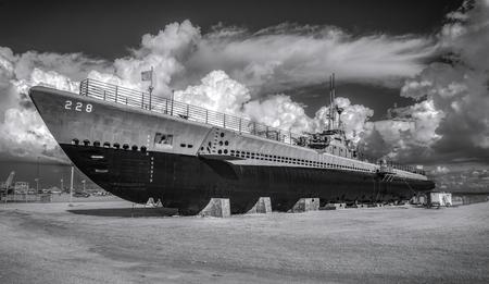 Gato class submarine situated at Battleship Park Alabama.