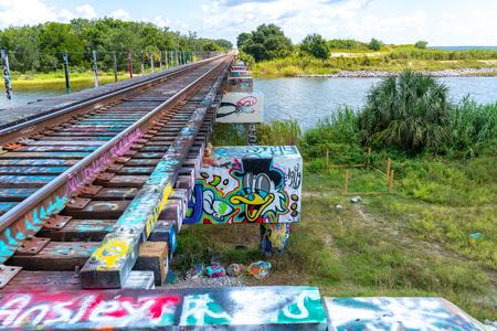 The tracks over Graffitti Bridge, Pensacola Florida Reklamní fotografie