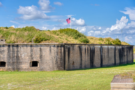 The US Flag flying over Fort Pickens in Pensacola Florida