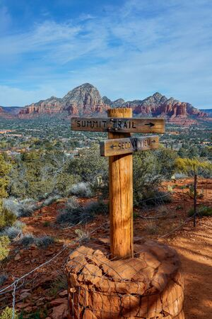 Trailhead marker located on Airport Mesa in Sedona Arizona. Capitol Butte in the background. Фото со стока