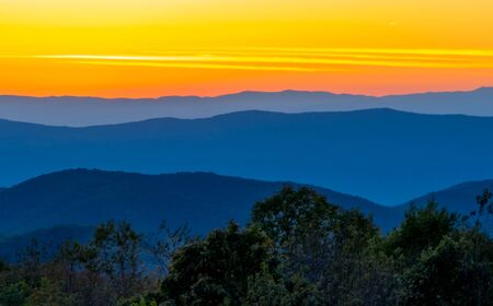 Sunset on the Blue Ridge Mountains of Virginia Фото со стока