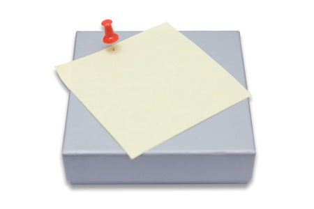 A gift box and a blank paper for writing some note Stock Photo - 9429029
