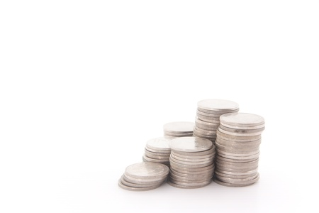 Stack money on a white isolate photo