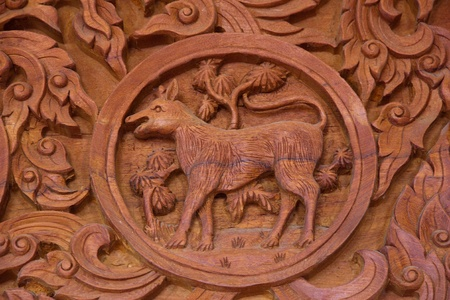 signes du zodiaque: Sculpture tha�landais environ 12 signes du zodiaque