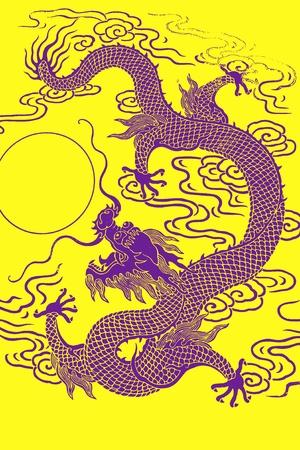 Pattern of purple dragon on yellow background