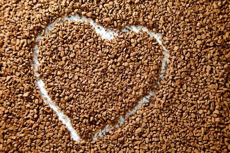 Coffee heart shape background Stock Photo