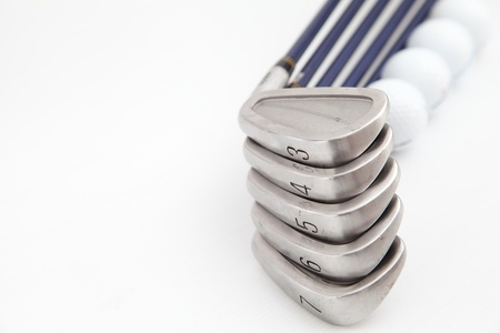 Golf equipment on white isolated photo