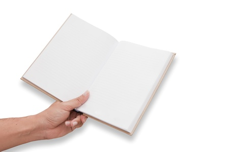 A hand is opening blank page notebook6 Stock Photo - 12688258
