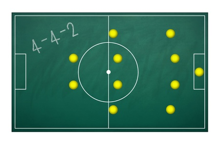 Planing board for plan tactic 4-4-2 in football match photo