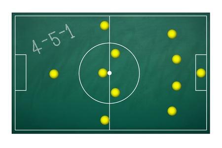 축구 경기에서 계획 전술 4-5-1에 대한 기획 보드 스톡 콘텐츠