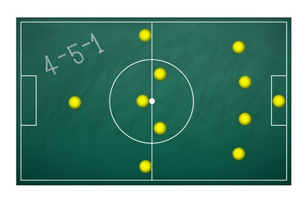 Planing board for plan tactic 4-5-1 in football match Stock Photo