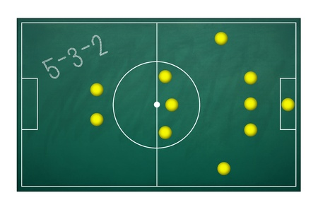 Planing board for plan tactic 5-3-2 in football match photo