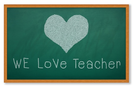 Heart shape on grunge green chalkboard and worlding WE LOVE TEACHER Stock Photo - 13463520