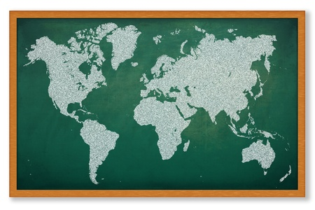 south east asia: World map on grunge green chalkboard