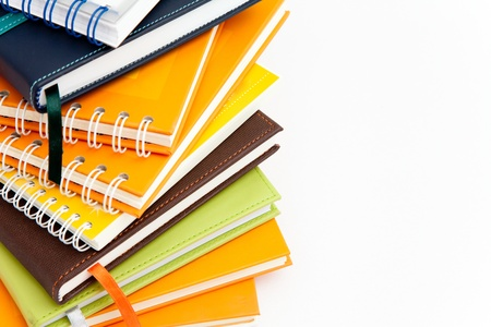 notebook stack on white isolated Stock Photo - 13462960