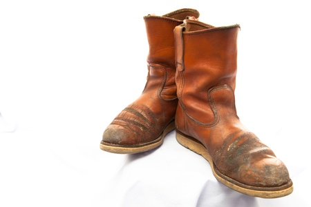 Brown boot shoes for men on white background