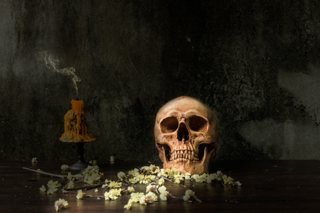 Still life with human skull and candle and dry flower on abstract background