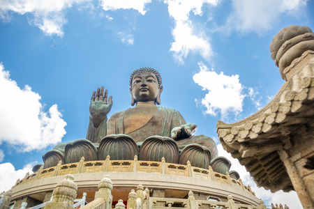 Tian Tan Buddha, Big Budda, The enormous Tian Tan Buddha at Po Lin Monastery in Hong Kong. The worlds tallest outdoor seated bronze Buddha located in Ngong ping 360. Stock Photo