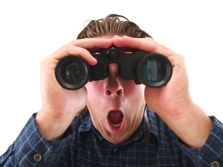 Man with binoculars 写真素材