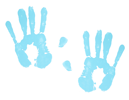 Blue hand prints isolated on a white background Stock Photo