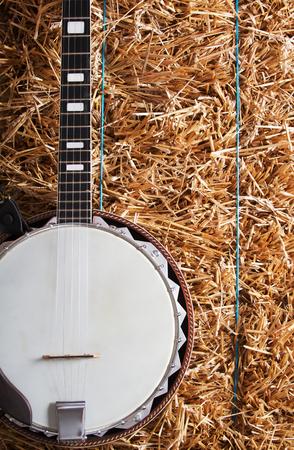Banjo on hay bale background