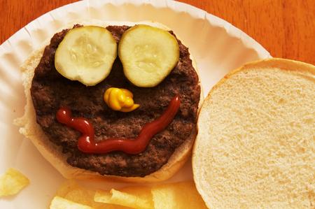 Hamburger Plate Face Stock Photo