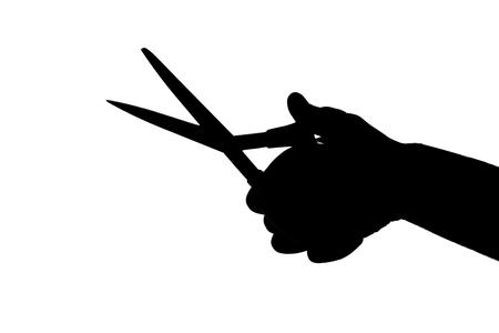 Holding Scissors Silhouette Фото со стока