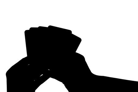 Card Hand Silhouette Фото со стока