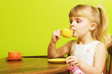Little girl tea party 写真素材