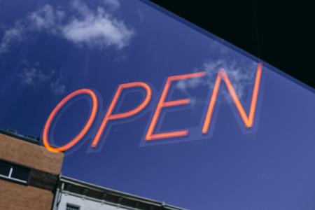 Neon Open Business Sign Фото со стока