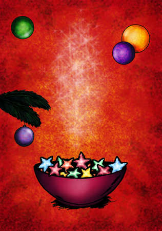 meaningful: A bowl with star shaped cookies on Christmas Stock Photo