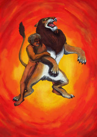 nudity: A muscular man fighting with a huge lion