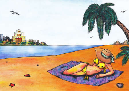 freetime: A woman relaxing on the beach of a tropical country