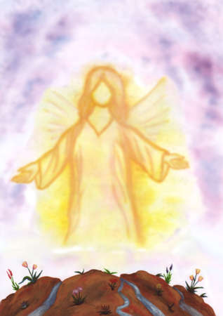 meaningful: An angel appearing and shining Stock Photo