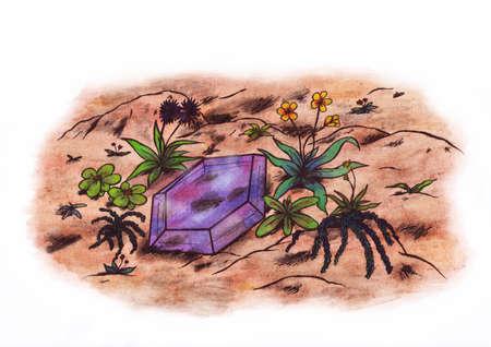 gem: A violet gem surrounded by several plants