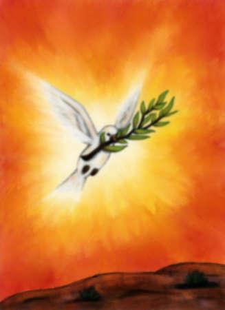 paloma blanca: Una paloma blanca con una rama volando a trav�s de la luz que brilla Foto de archivo