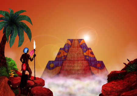 meaningful: native indian people in front of a pyramid