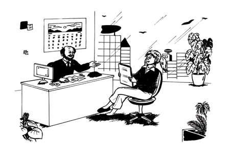 Baas te praten met zijn werknemer