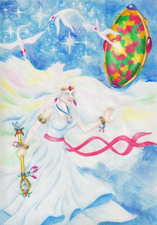 opal: fairy with opal and fantasy birds